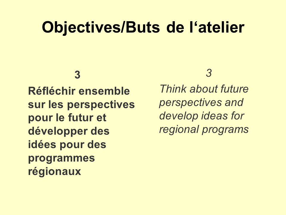 Objectives/Buts de latelier 3 Réfléchir ensemble sur les perspectives pour le futur et développer des idées pour des programmes régionaux 3 Think about future perspectives and develop ideas for regional programs