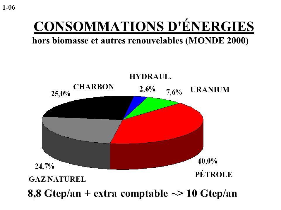 CONSOMMATIONS D'ÉNERGIES hors biomasse et autres renouvelables (MONDE 2000) CHARBON HYDRAUL. URANIUM PÉTROLE GAZ NATUREL 8,8 Gtep/an + extra comptable