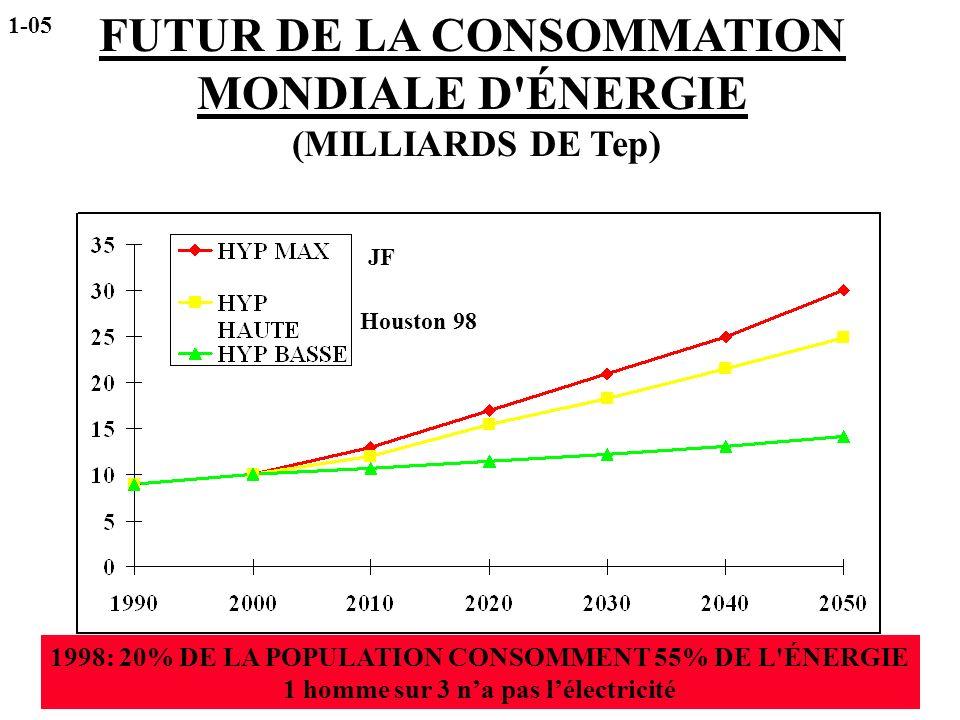 1998: 20% DE LA POPULATION CONSOMMENT 55% DE L'ÉNERGIE 1 homme sur 3 na pas lélectricité Houston 98 JF FUTUR DE LA CONSOMMATION MONDIALE D'ÉNERGIE (MI