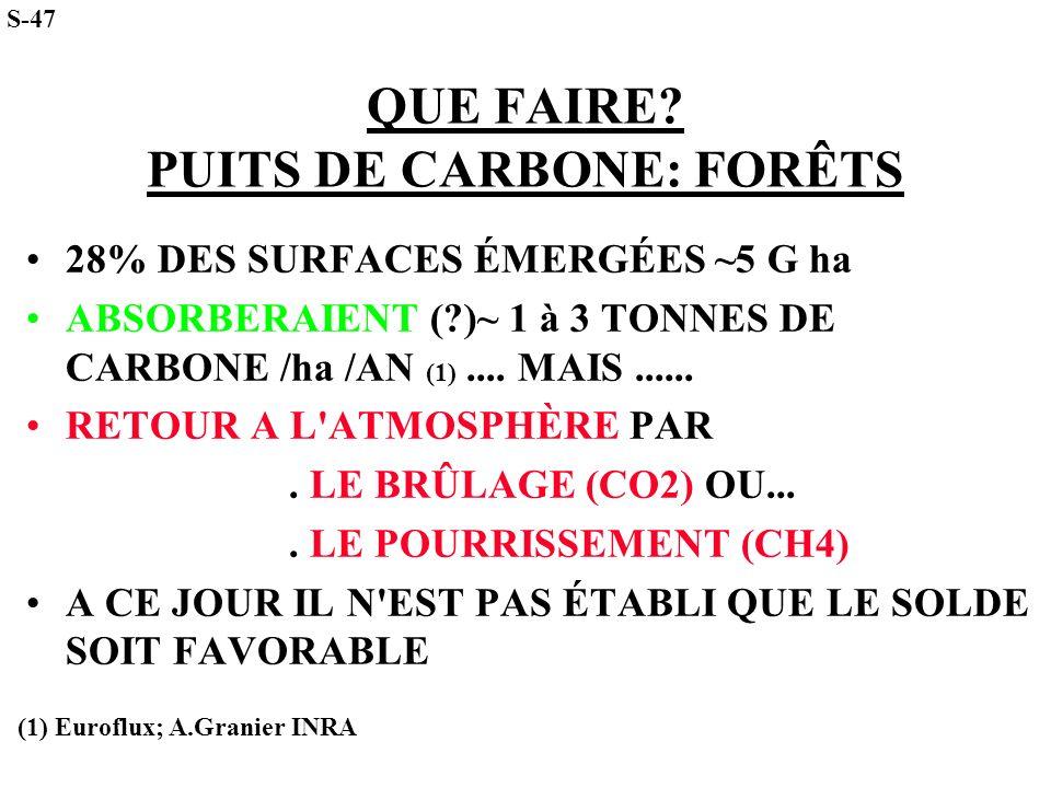 QUE FAIRE? PUITS DE CARBONE: FORÊTS 28% DES SURFACES ÉMERGÉES ~5 G ha ABSORBERAIENT (?)~ 1 à 3 TONNES DE CARBONE /ha /AN (1).... MAIS...... RETOUR A L