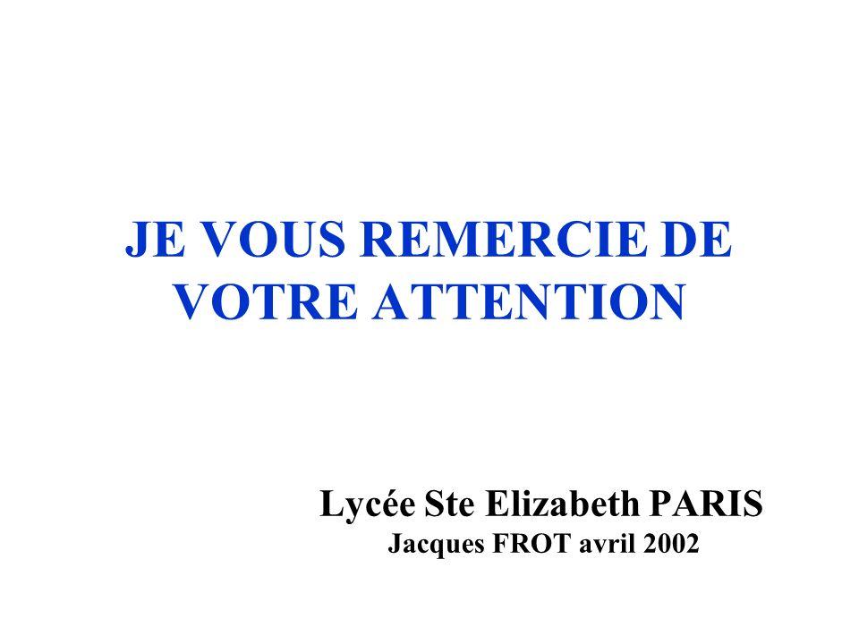 JE VOUS REMERCIE DE VOTRE ATTENTION Lycée Ste Elizabeth PARIS Jacques FROT avril 2002