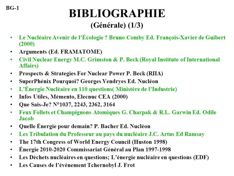 BIBLIOGRAPHIE (Générale) (1/3) Le Nucléaire Avenir de lÉcologie ? Bruno Comby Ed. François-Xavier de Guibert (2000) Arguments (Ed. FRAMATOME) Civil Nu