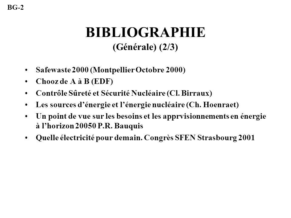 BIBLIOGRAPHIE (Générale) (2/3) Safewaste 2000 (Montpellier Octobre 2000) Chooz de A à B (EDF) Contrôle Sûreté et Sécurité Nucléaire (Cl. Birraux) Les