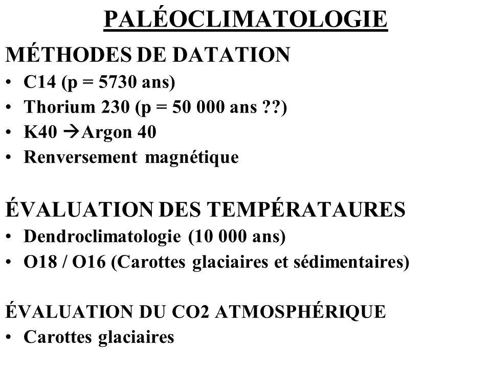 PALÉOCLIMATOLOGIE MÉTHODES DE DATATION C14 (p = 5730 ans) Thorium 230 (p = 50 000 ans ??) K40 Argon 40 Renversement magnétique ÉVALUATION DES TEMPÉRAT