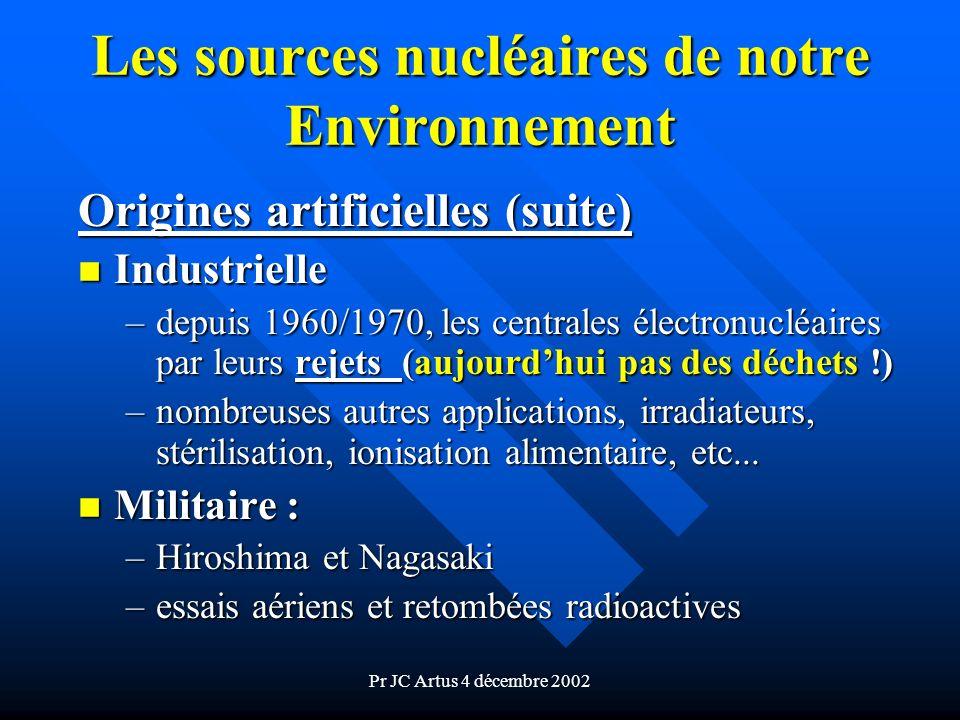 Pr JC Artus 4 décembre 2002 Les sources nucléaires de notre Environnement Origines artificielles (suite) n Industrielle –depuis 1960/1970, les central