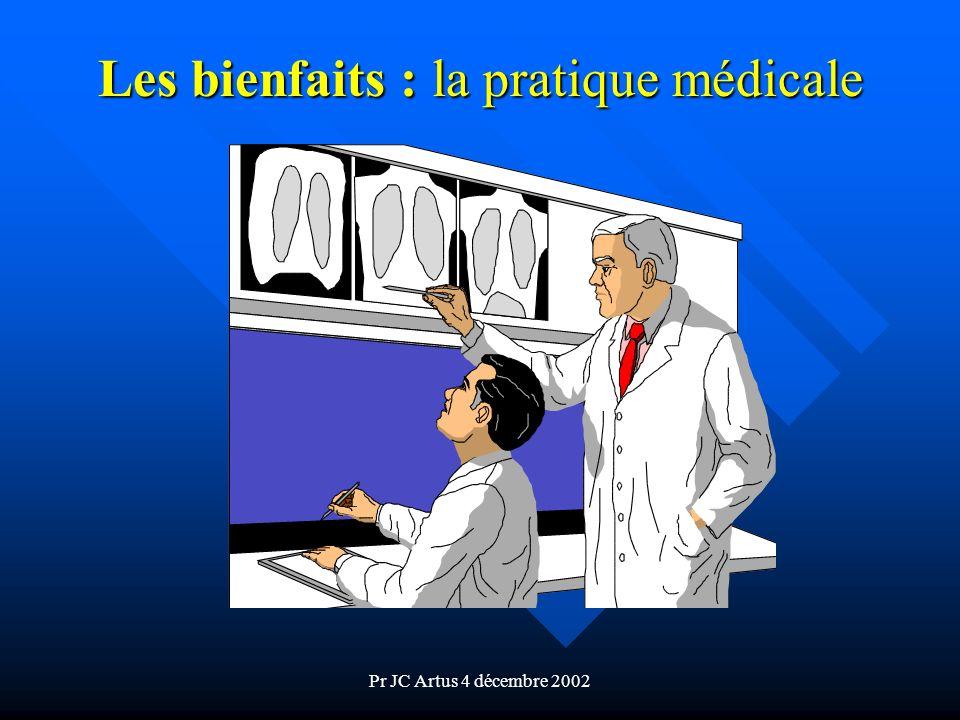Pr JC Artus 4 décembre 2002 Les bienfaits : la pratique médicale