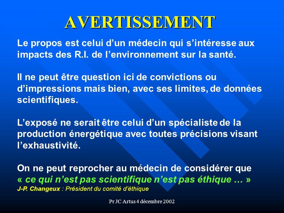 Pr JC Artus 4 décembre 2002 AVERTISSEMENT Le propos est celui dun médecin qui sintéresse aux impacts des R.I. de lenvironnement sur la santé. Il ne pe