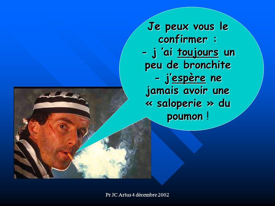 Pr JC Artus 4 décembre 2002 Je peux vous le confirmer : - j ai toujours un peu de bronchite - jespère ne jamais avoir une « saloperie » du poumon - je