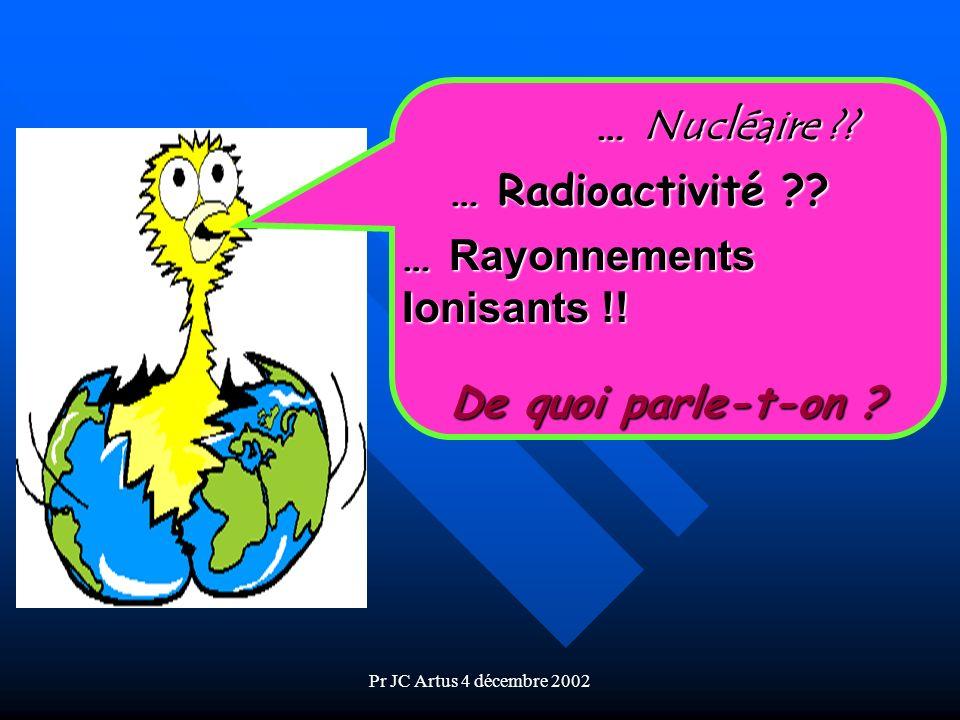 Pr JC Artus 4 décembre 2002 Dangers pour la santé (1) Atteintes obligatoires (extrêmement rares) : –au dessus dun seuil de dose, à débit élevé, 700 mSv ( 290 ans dexpo.