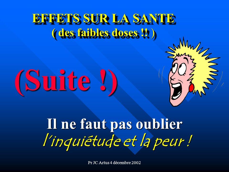 Pr JC Artus 4 décembre 2002 EFFETS SUR LA SANTE ( des faibles doses !! ) (Suite !) Il ne faut pas oublier linquiétude et la peur !