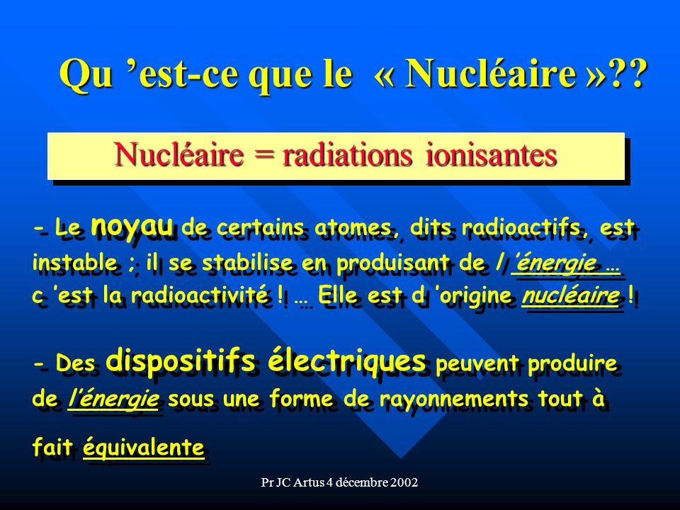Pr JC Artus 4 décembre 2002 Il y a donc 2 origines du « Nucléaire » les éléments radioactifs ( ) les éléments radioactifs ( ) - d origine naturelle - d origine artificielle n les générateurs électriques - tubes de RX - accélérateurs, etc.