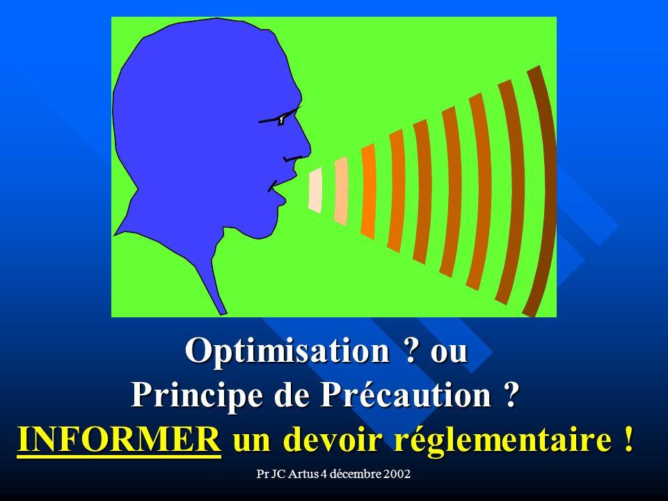 Pr JC Artus 4 décembre 2002 Optimisation ? ou Principe de Précaution ? INFORMER un devoir réglementaire !