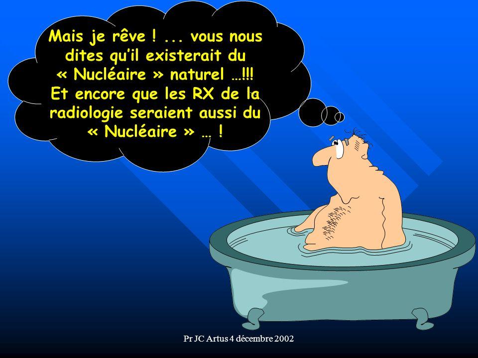 Pr JC Artus 4 décembre 2002 Caractérisation des sources du «Nucléaire» n Pour les effets sur la Santé, peu importe la source, naturelle ou artificielle, ce qui compte cest lénergie que lon en reçoit .