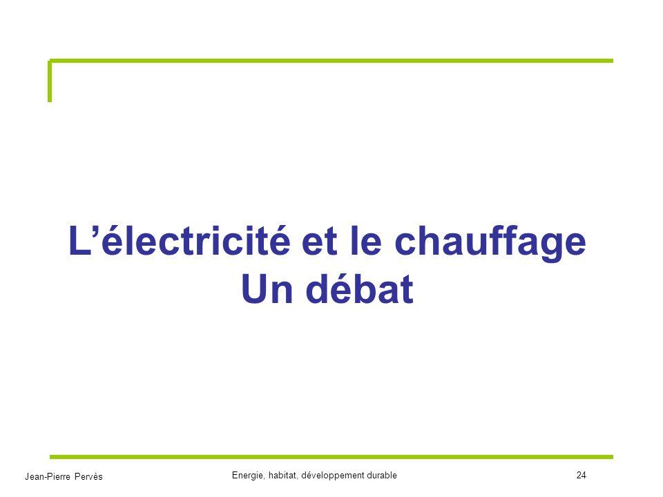 Jean-Pierre Pervès Energie, habitat, développement durable24 Lélectricité et le chauffage Un débat
