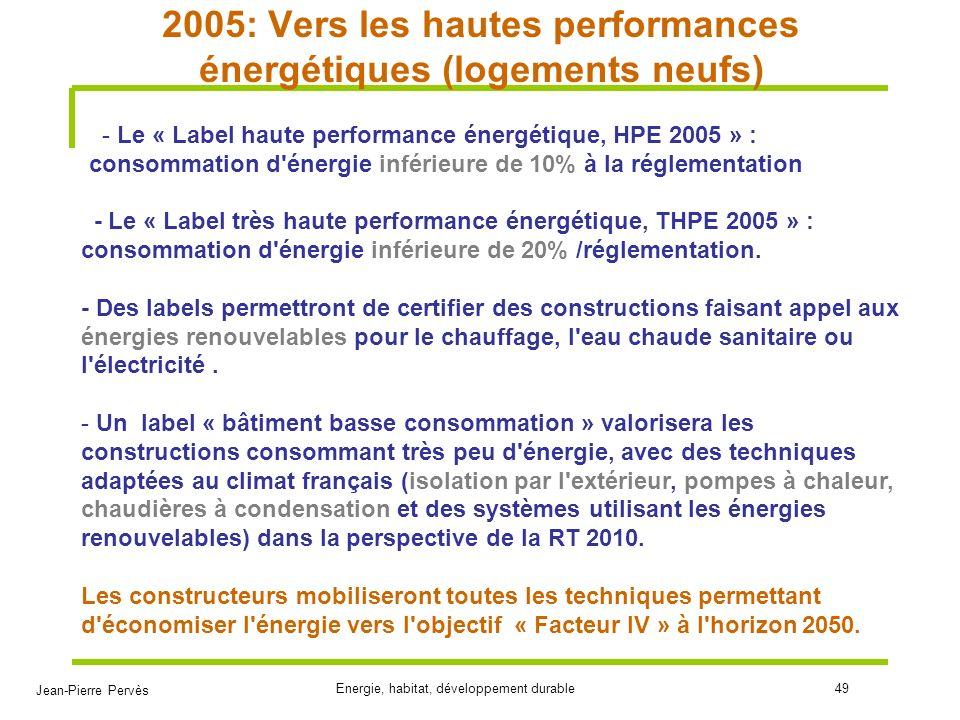 Jean-Pierre Pervès Energie, habitat, développement durable49 2005: Vers les hautes performances énergétiques (logements neufs) - Le « Label haute perf