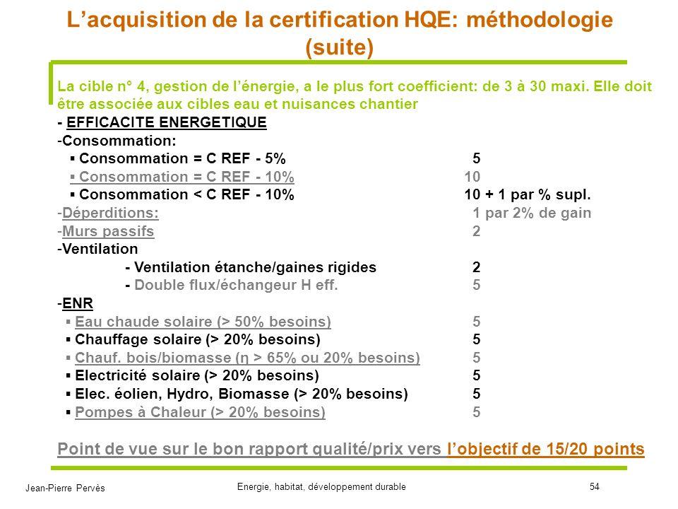 Jean-Pierre Pervès Energie, habitat, développement durable54 Lacquisition de la certification HQE: méthodologie (suite) La cible n° 4, gestion de léne