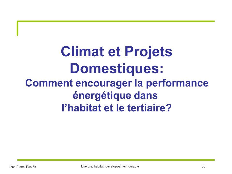 Jean-Pierre Pervès Energie, habitat, développement durable56 Climat et Projets Domestiques: Comment encourager la performance énergétique dans lhabita