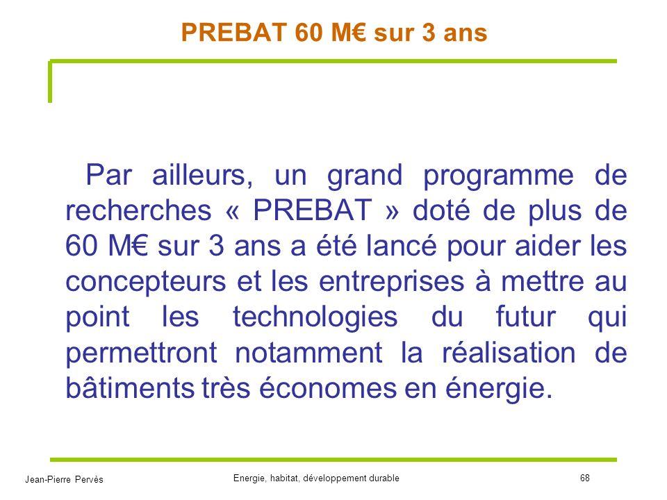 Jean-Pierre Pervès Energie, habitat, développement durable68 PREBAT 60 M sur 3 ans Par ailleurs, un grand programme de recherches « PREBAT » doté de p