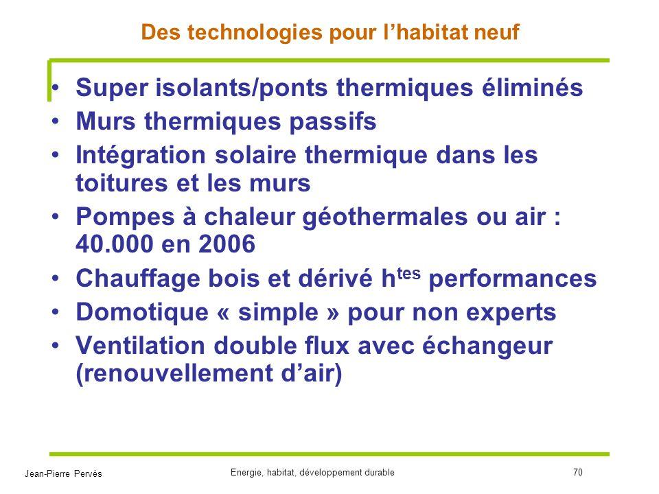 Jean-Pierre Pervès Energie, habitat, développement durable70 Des technologies pour lhabitat neuf Super isolants/ponts thermiques éliminés Murs thermiq