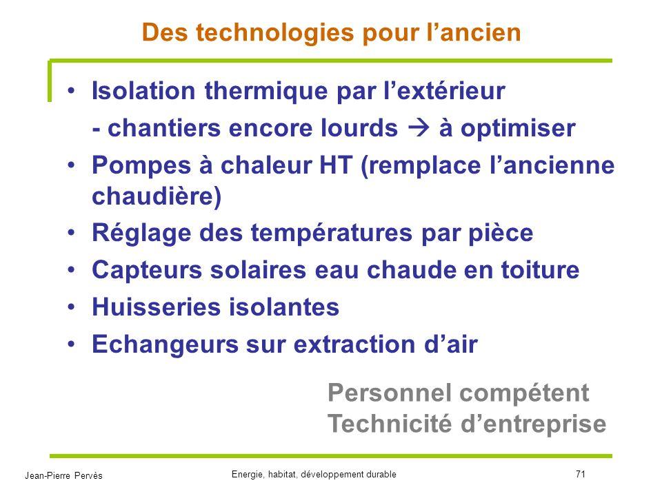 Jean-Pierre Pervès Energie, habitat, développement durable71 Des technologies pour lancien Isolation thermique par lextérieur - chantiers encore lourd
