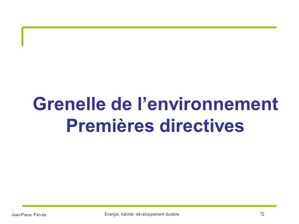 Jean-Pierre Pervès Energie, habitat, développement durable72 Grenelle de lenvironnement Premières directives