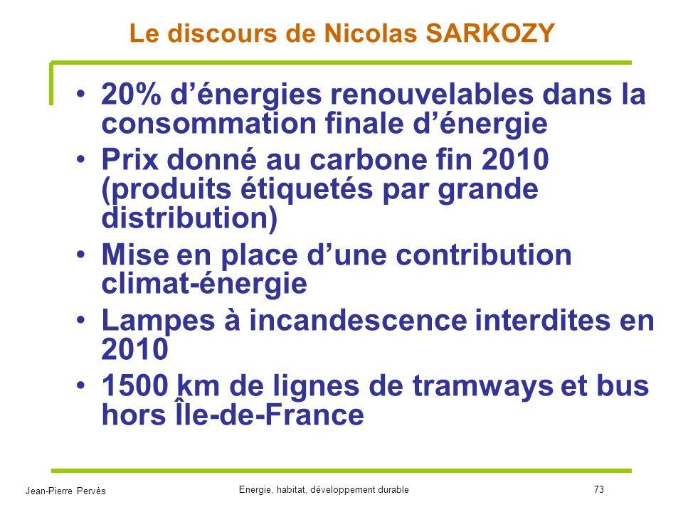 Jean-Pierre Pervès Energie, habitat, développement durable73 Le discours de Nicolas SARKOZY 20% dénergies renouvelables dans la consommation finale dé