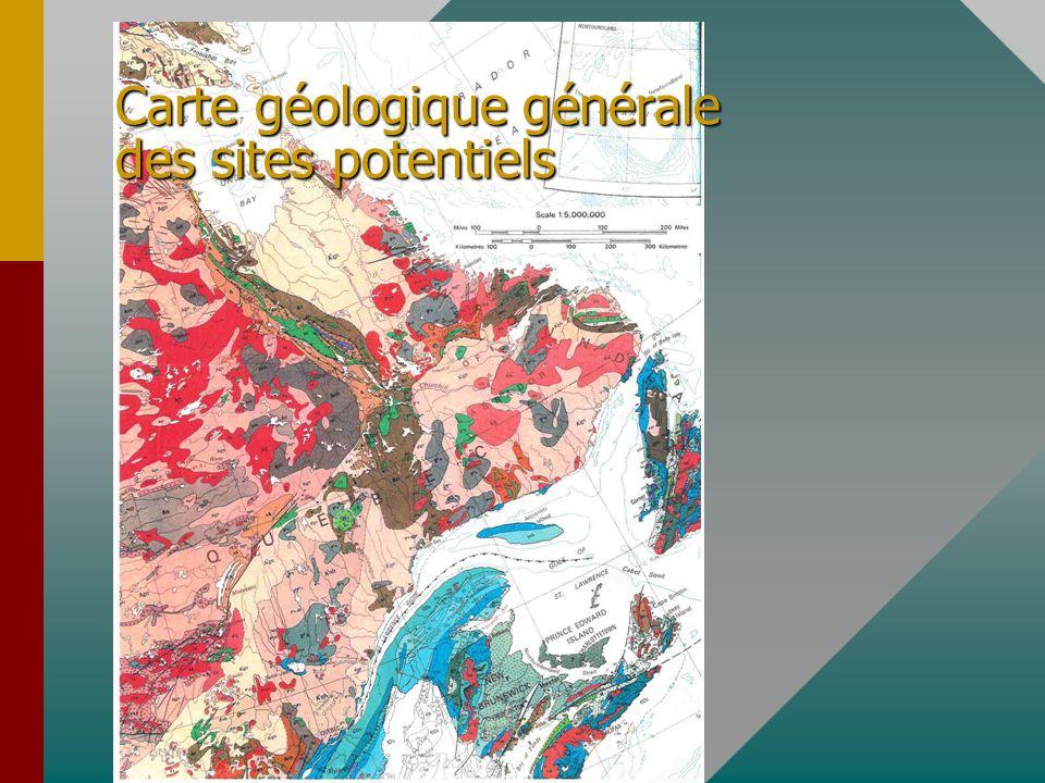 Carte géologique générale des sites potentiels