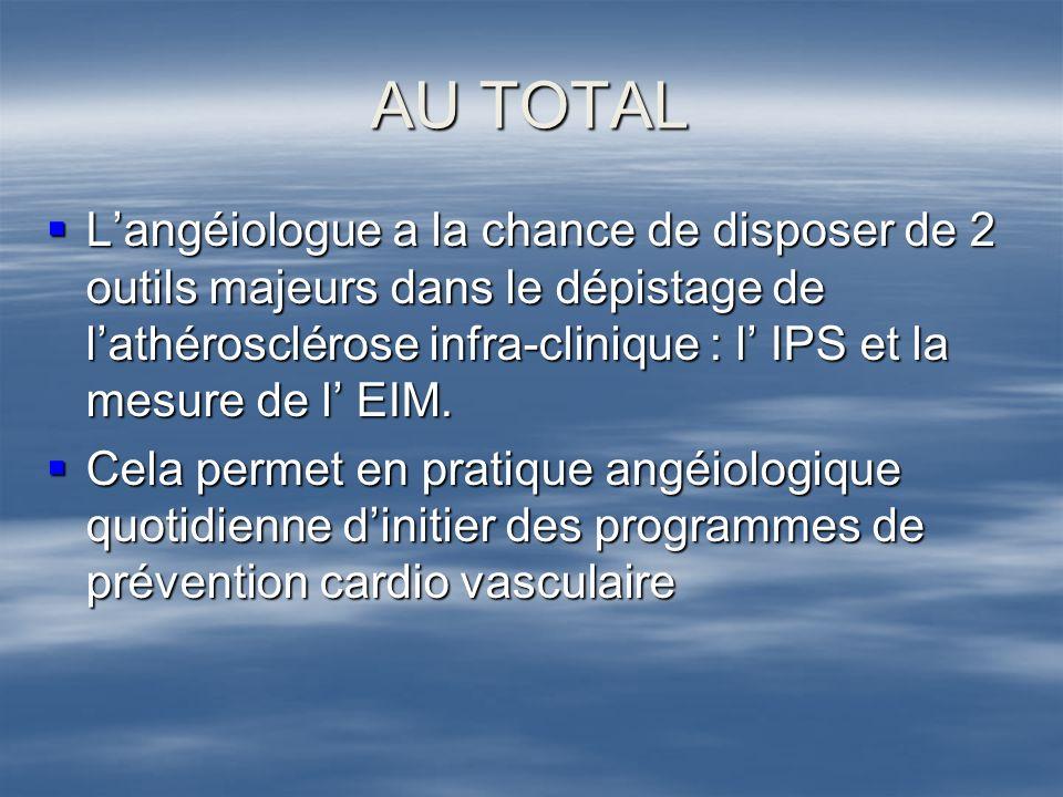 AU TOTAL Langéiologue a la chance de disposer de 2 outils majeurs dans le dépistage de lathérosclérose infra-clinique : l IPS et la mesure de l EIM. L
