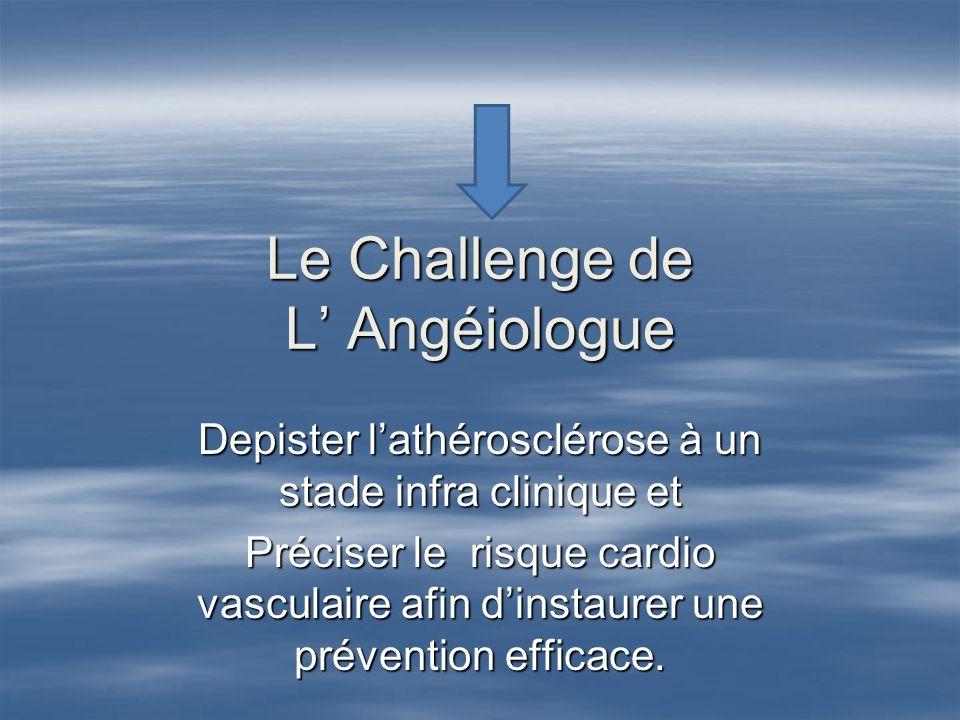 Le Challenge de L Angéiologue Depister lathérosclérose à un stade infra clinique et Préciser le risque cardio vasculaire afin dinstaurer une préventio