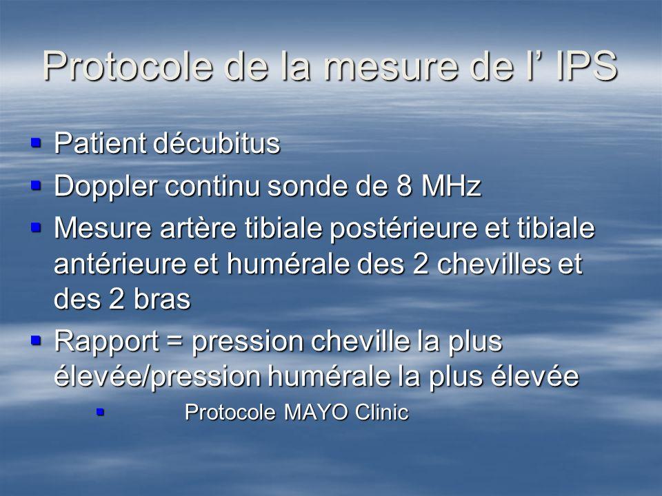 Protocole de la mesure de l IPS Patient décubitus Patient décubitus Doppler continu sonde de 8 MHz Doppler continu sonde de 8 MHz Mesure artère tibial