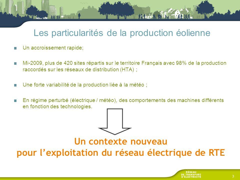 Les particularités de la production éolienne Un accroissement rapide; Mi-2009, plus de 420 sites répartis sur le territoire Français avec 98% de la pr