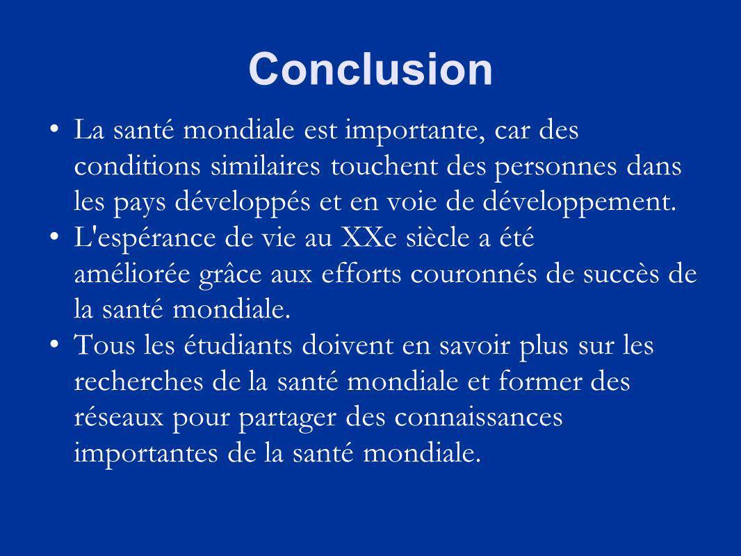 Conclusion La santé mondiale est importante, car des conditions similaires touchent des personnes dans les pays développés et en voie de développement.