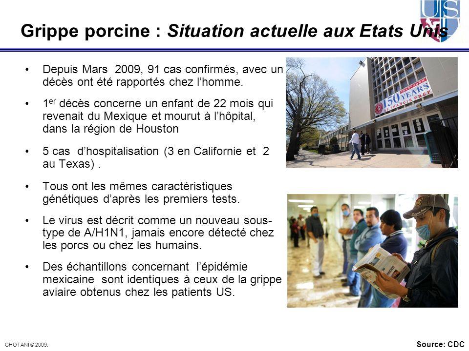 CHOTANI © 2009. Grippe porcine : Situation actuelle aux Etats Unis Depuis Mars 2009, 91 cas confirmés, avec un décès ont été rapportés chez lhomme. 1