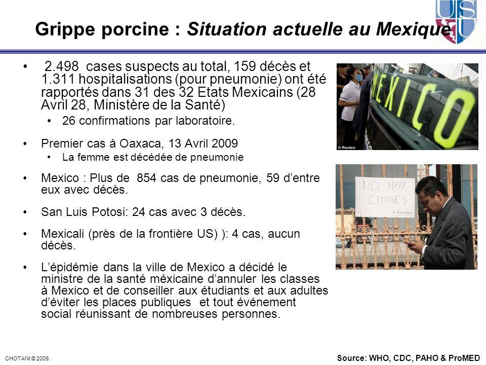 CHOTANI © 2009. Grippe porcine : Situation actuelle au Mexique 2.498 cases suspects au total, 159 décès et 1.311 hospitalisations (pour pneumonie) ont
