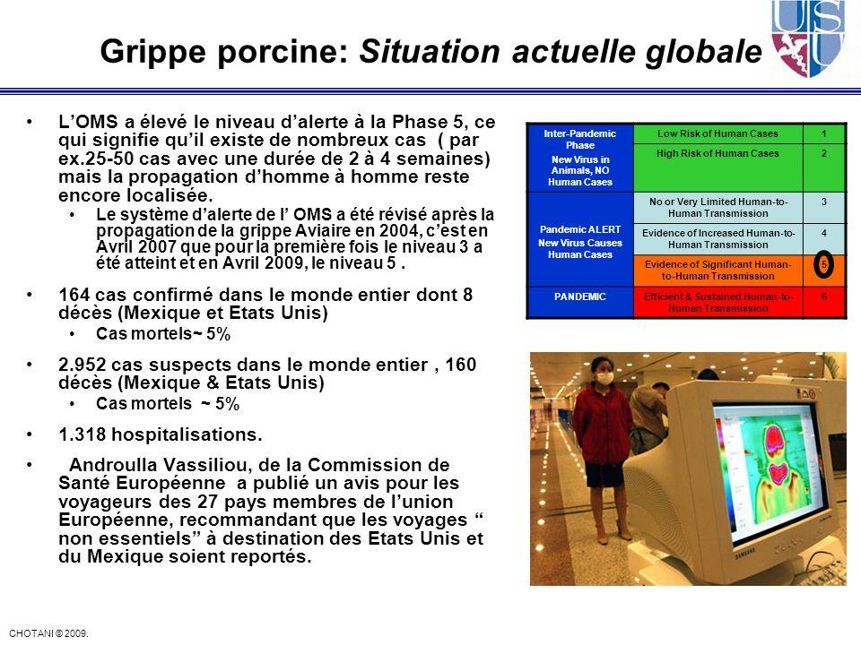 CHOTANI © 2009. Grippe porcine: Situation actuelle globale LOMS a élevé le niveau dalerte à la Phase 5, ce qui signifie quil existe de nombreux cas (