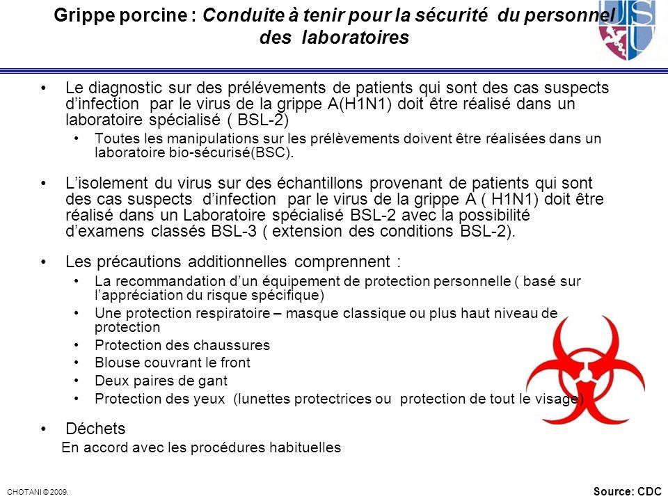 CHOTANI © 2009. Grippe porcine : Conduite à tenir pour la sécurité du personnel des laboratoires Le diagnostic sur des prélévements de patients qui so