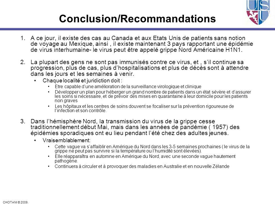 CHOTANI © 2009. Conclusion/Recommandations 1.A ce jour, il existe des cas au Canada et aux Etats Unis de patients sans notion de voyage au Mexique, ai