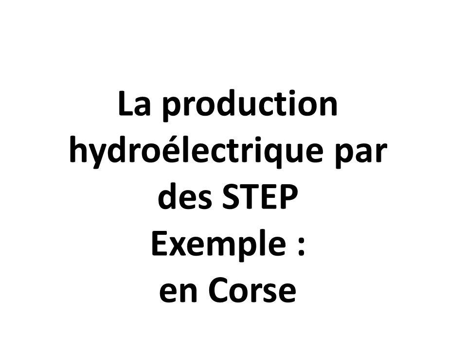 La production hydroélectrique par des STEP Exemple : en Corse