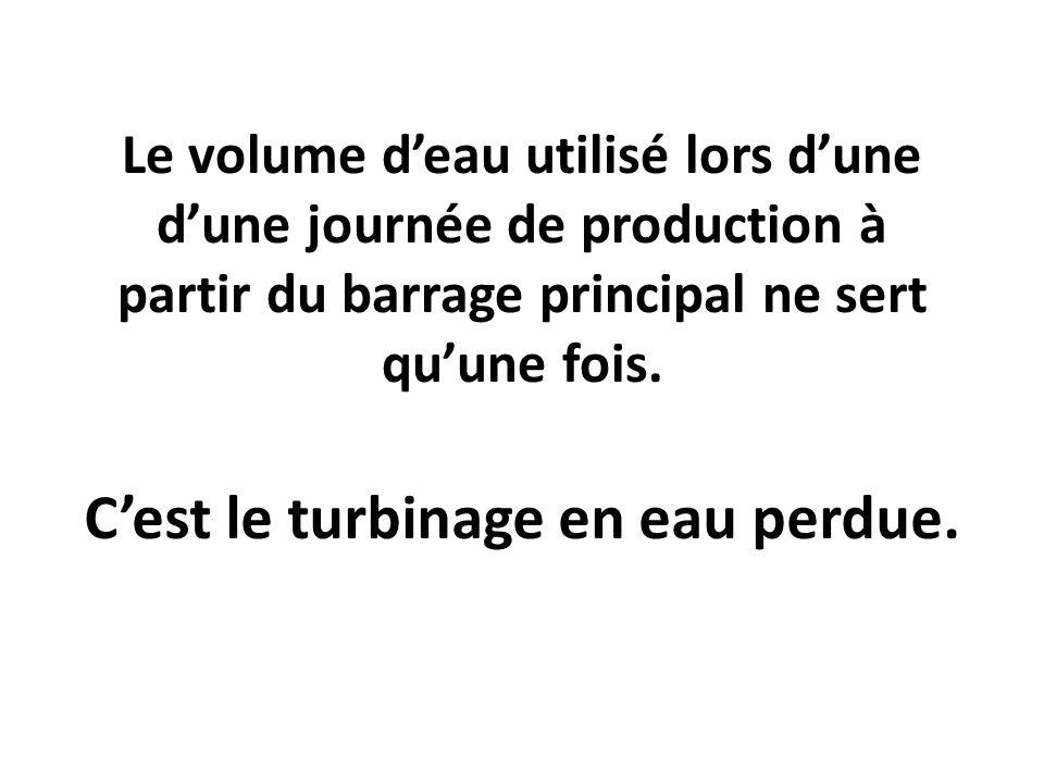 Le volume deau utilisé lors dune dune journée de production à partir du barrage principal ne sert quune fois. Cest le turbinage en eau perdue.