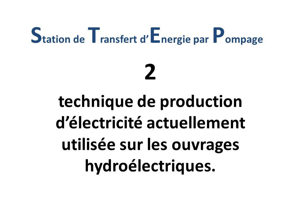 2 technique de production délectricité actuellement utilisée sur les ouvrages hydroélectriques. S tation de T ransfert d E nergie par P ompage