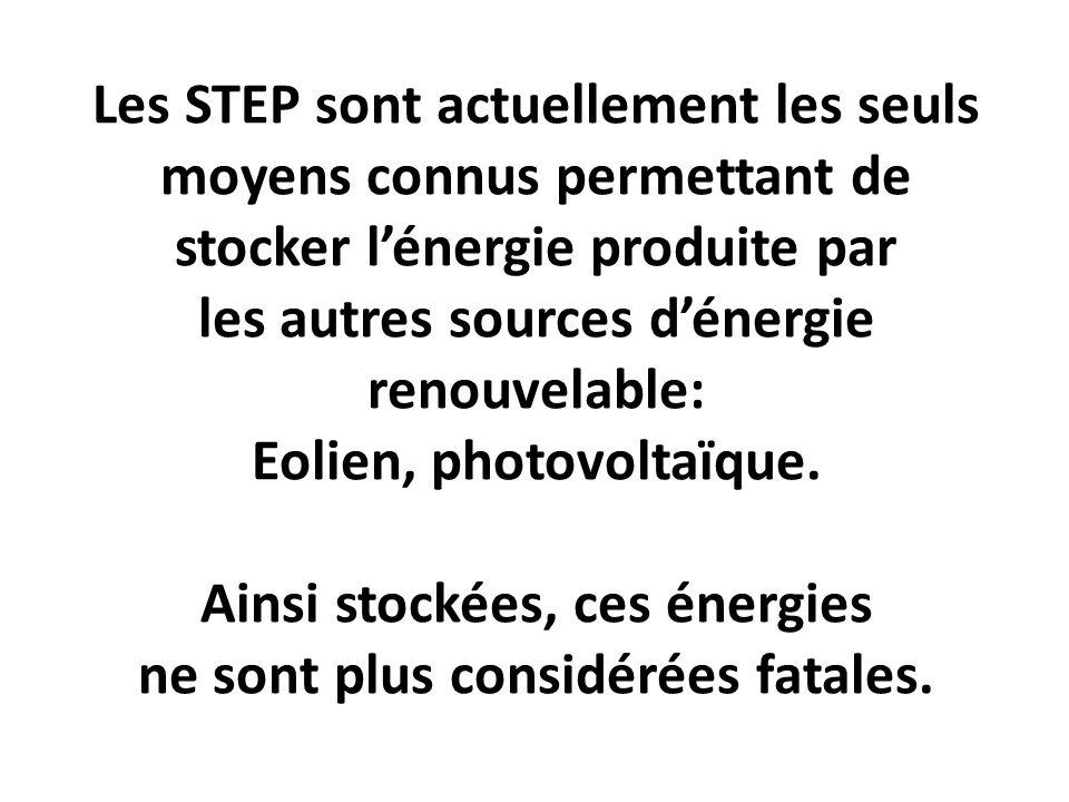 Les STEP sont actuellement les seuls moyens connus permettant de stocker lénergie produite par les autres sources dénergie renouvelable: Eolien, photo