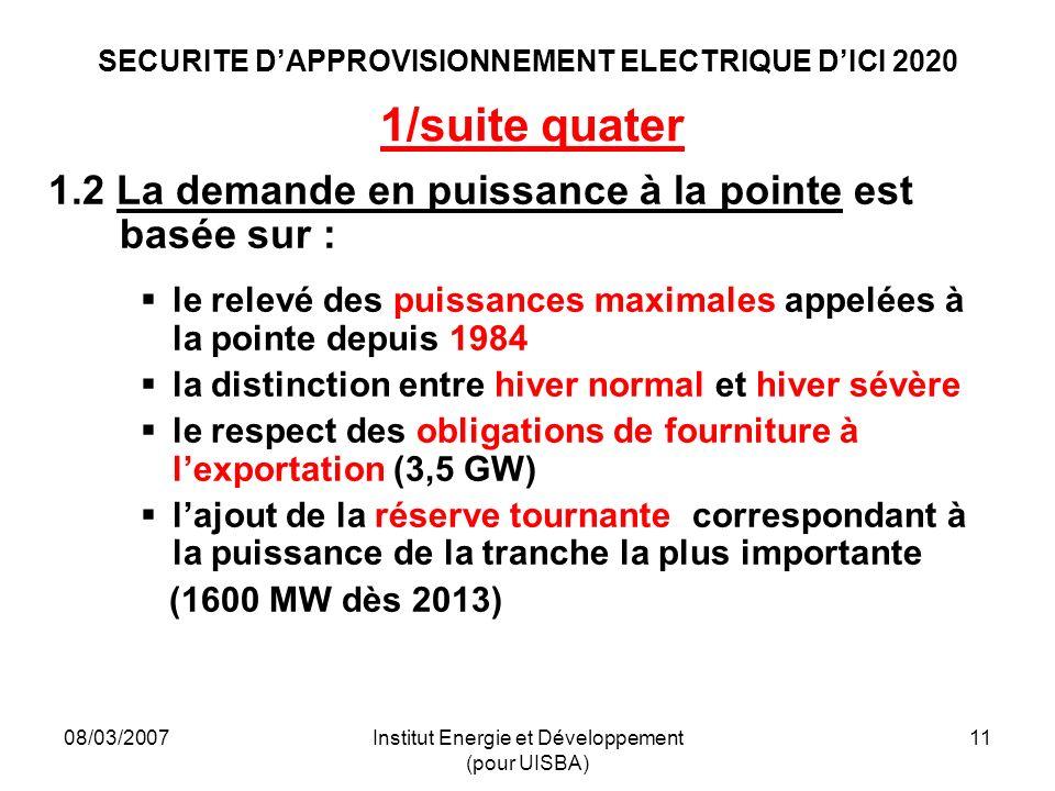 08/03/2007Institut Energie et Développement (pour UISBA) 11 SECURITE DAPPROVISIONNEMENT ELECTRIQUE DICI 2020 1/suite quater 1.2 La demande en puissance à la pointe est basée sur : le relevé des puissances maximales appelées à la pointe depuis 1984 la distinction entre hiver normal et hiver sévère le respect des obligations de fourniture à lexportation (3,5 GW) lajout de la réserve tournante correspondant à la puissance de la tranche la plus importante (1600 MW dès 2013)