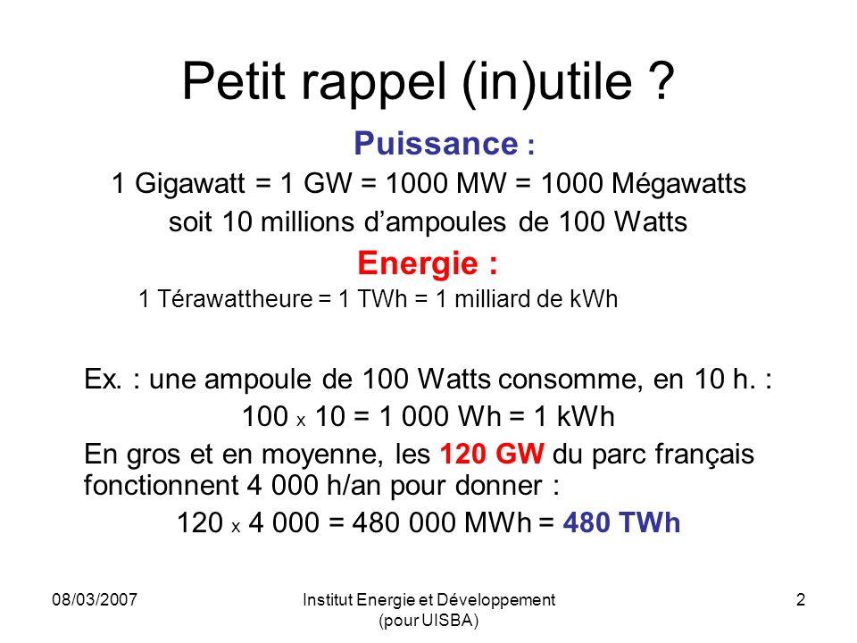 08/03/2007Institut Energie et Développement (pour UISBA) 2 Petit rappel (in)utile .