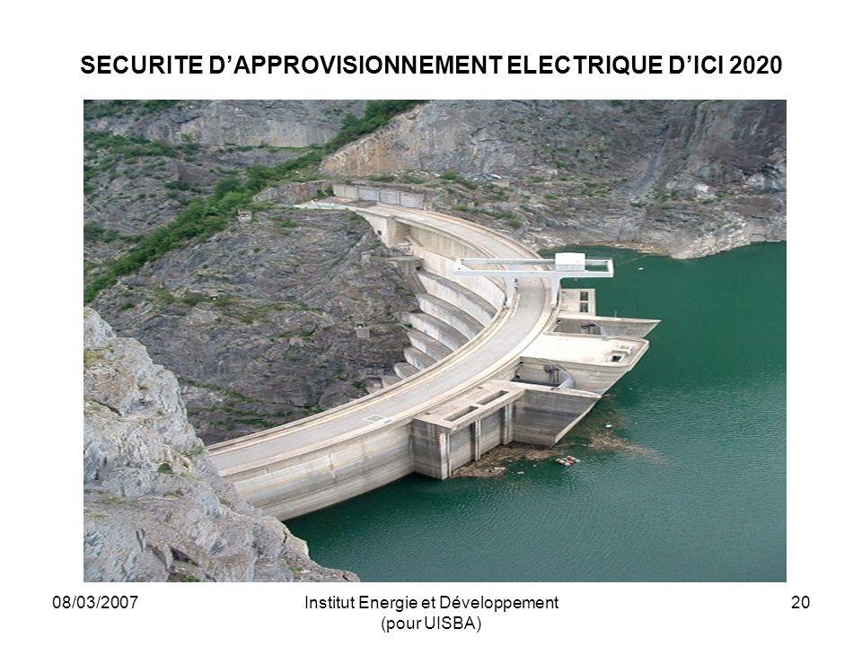 08/03/2007Institut Energie et Développement (pour UISBA) 20 SECURITE DAPPROVISIONNEMENT ELECTRIQUE DICI 2020