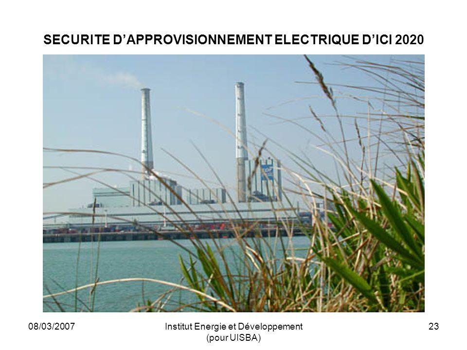 08/03/2007Institut Energie et Développement (pour UISBA) 23 SECURITE DAPPROVISIONNEMENT ELECTRIQUE DICI 2020