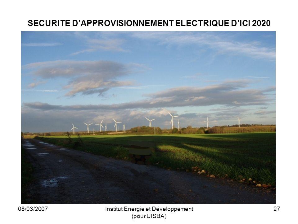 08/03/2007Institut Energie et Développement (pour UISBA) 27 SECURITE DAPPROVISIONNEMENT ELECTRIQUE DICI 2020