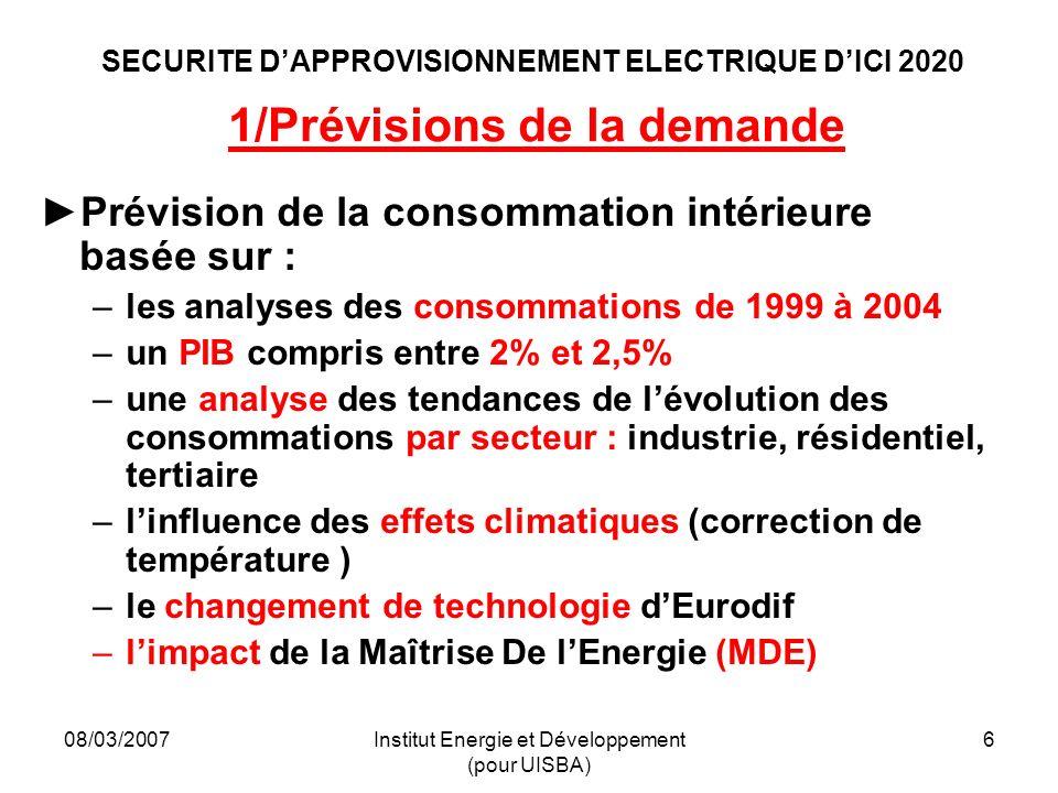 08/03/2007Institut Energie et Développement (pour UISBA) 6 SECURITE DAPPROVISIONNEMENT ELECTRIQUE DICI 2020 1/Prévisions de la demande Prévision de la consommation intérieure basée sur : –les analyses des consommations de 1999 à 2004 –un PIB compris entre 2% et 2,5% –une analyse des tendances de lévolution des consommations par secteur : industrie, résidentiel, tertiaire –linfluence des effets climatiques (correction de température ) –le changement de technologie dEurodif –limpact de la Maîtrise De lEnergie (MDE)
