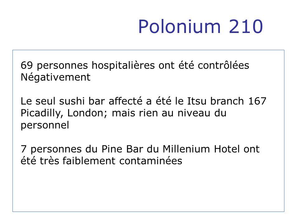 Polonium 210 69 personnes hospitalières ont été contrôlées Négativement Le seul sushi bar affecté a été le Itsu branch 167 Picadilly, London; mais rie