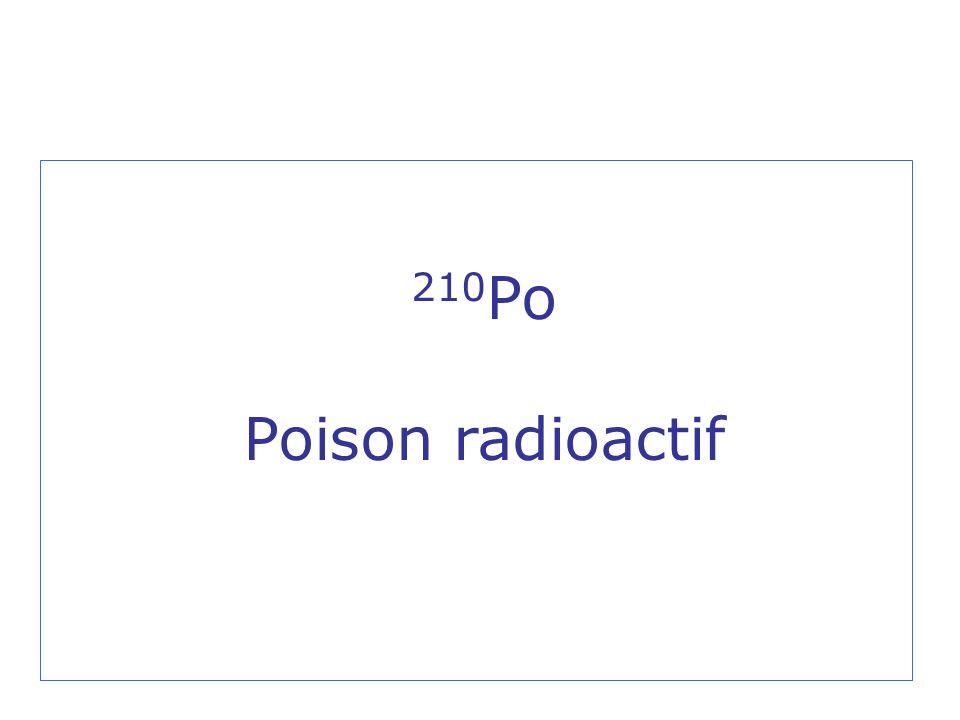 Polonium 210 Monsieur Alexandre Litvinenko est décédé le 23 novembre 2006, dans un hôpital de Londres, suite à une contamination par une forte dose de 210 Po probablement intervenue le 1er novembre 2006.