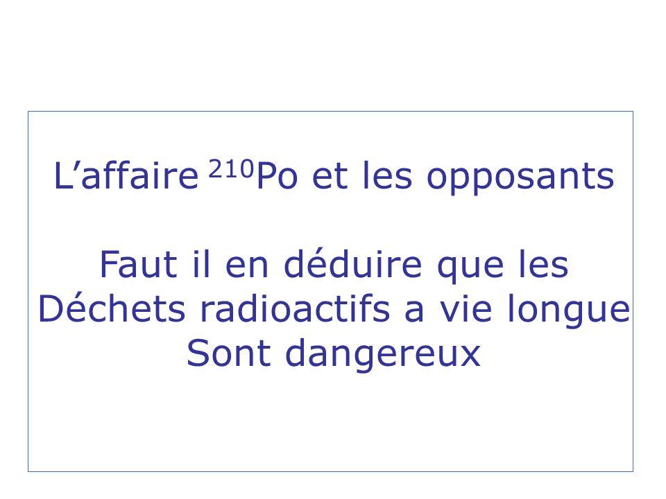Laffaire 210 Po et les opposants Faut il en déduire que les Déchets radioactifs a vie longue Sont dangereux